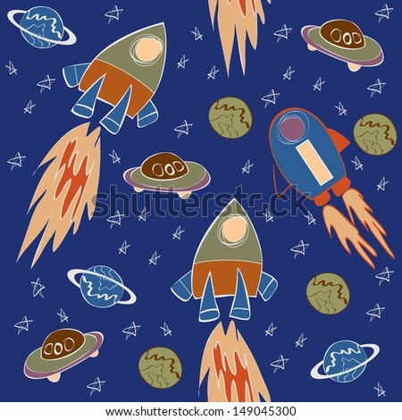 seamless pattern with rockets in space