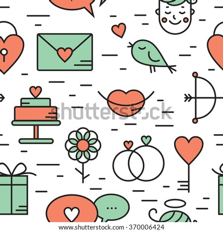 Seamless pattern with romantic vector icon in flat design. Cupid, birds, hearts, flower, lips and other. Valentine's day characters and illustrations. Simple linear pictogram. Thin line style