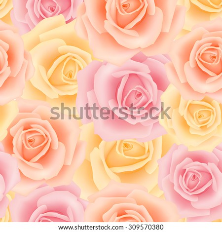 Seamless pattern with rose flowers  - stock vector