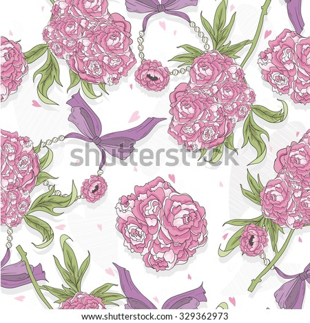 Seamless pattern with rose flowers, hearts and jewelry. Floral background.