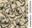 Seamless pattern with roses and butterflies, hand drawing. Vector illustration. - stock vector