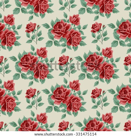 Seamless pattern with roses and leaves on beige background. Vector illustration in retro style.  - stock vector
