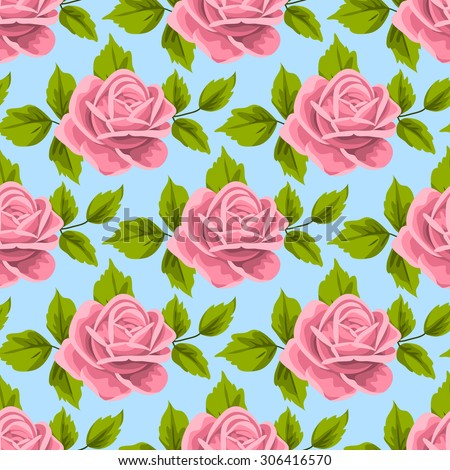 Seamless pattern with roses and leaves on light blue background. Vector illustration in retro style.