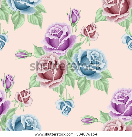 Seamless pattern with roses and leaves. Vector illustration in retro style.