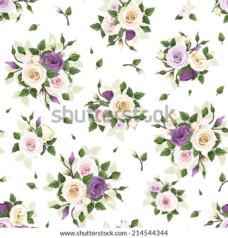 Seamless pattern with roses and lisianthus flowers. Vector illustration. - stock vector