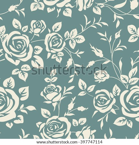 Seamless pattern with roses. Background with flowers silhouette - stock vector