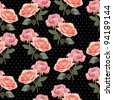 Seamless pattern with roses on black background - stock photo