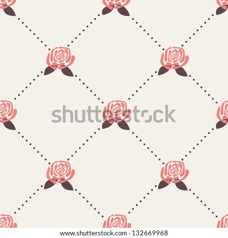 Seamless pattern with roses. Wallpaper with polka dot rhombus - stock vector