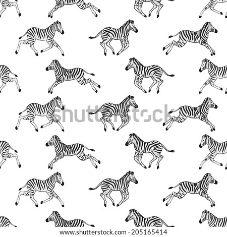 Seamless pattern with running zebras - stock vector