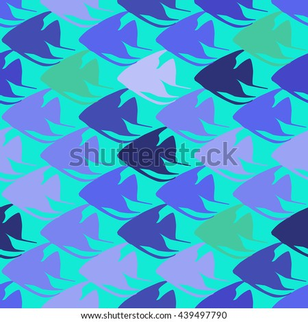 Seamless pattern with scalar fishes, fully editable eps 8. Sea or aquarium background - stock vector