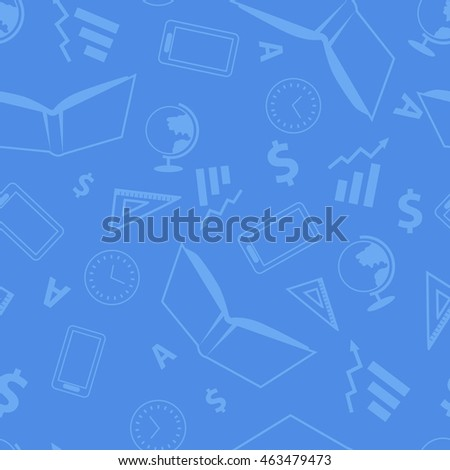 Seamless pattern with school elements. Book ruler clock mobile phone globe letter. Realistic elements isolated on blue background. For wallpapers banners printed covers wrapping paper. Vector