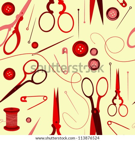 Seamless pattern with scissors, button, needle. Sewing background - stock vector