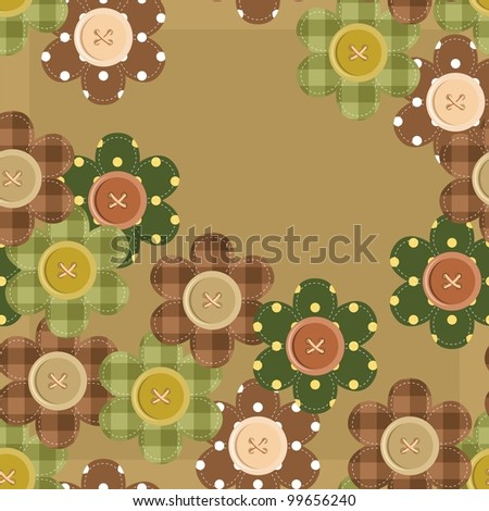 seamless pattern with scrapbook flowers - stock vector