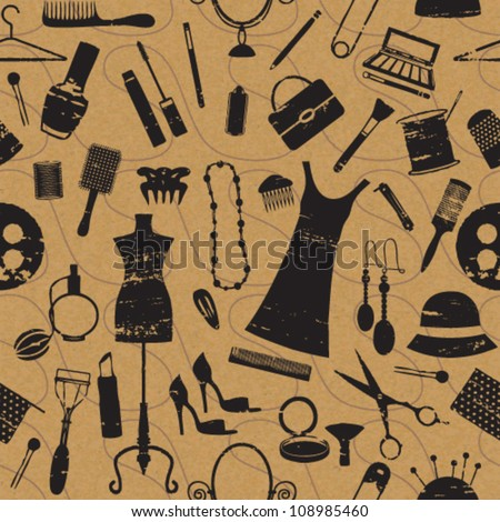 Seamless pattern with scratched beauty and fashion symbols on paper textured background - stock vector