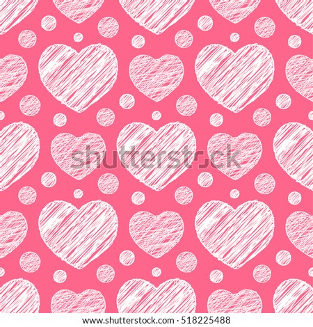 Seamless pattern with scribble hearts. Vector illustration