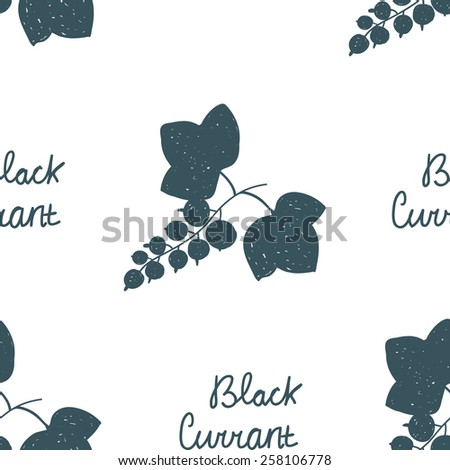 Seamless pattern with scribble illustrations of black currant with leaves and dark blue text. Elements for design. - stock vector