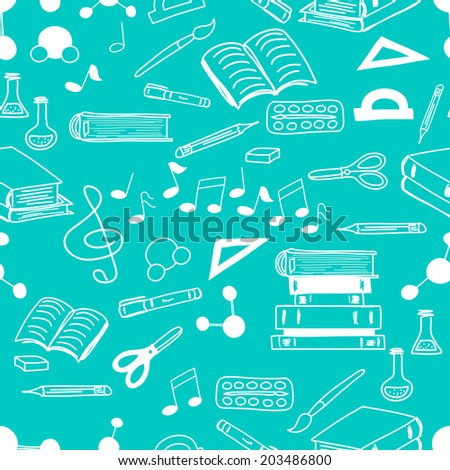 Seamless pattern with scribbled school stationery. Hand drawn back to school doodles. Sketched notes, books, paint, pencil, molecules. Tiling back to school background. - stock vector