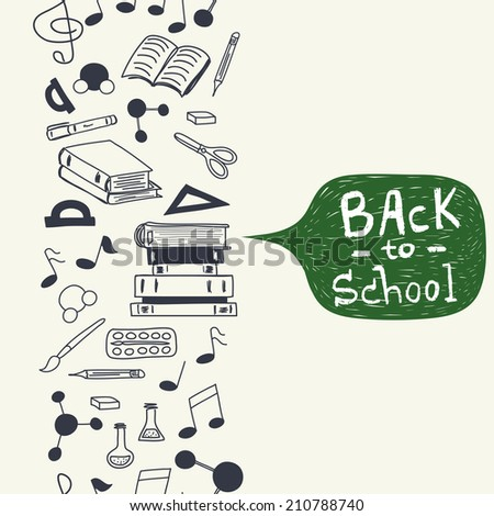 Seamless pattern with scribbled school stationery. Hand drawn back to school doodles. Sketched notes, books, paint, pencil, molecules. Back to school background with text box. - stock vector