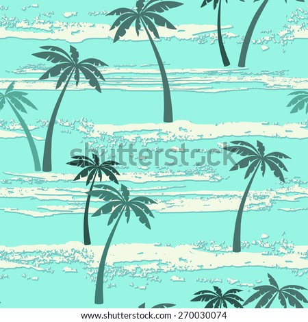 Seamless pattern with sea and palm trees. Summer background. - stock vector