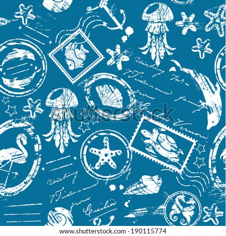 Seamless pattern with Sea and tropical elements - rubber stamps collection - white silhouette on blue background - stock vector