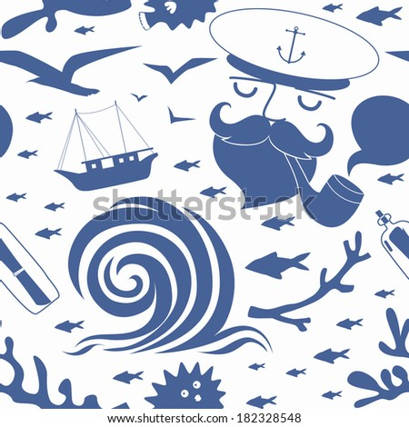 Seamless pattern with sea captain