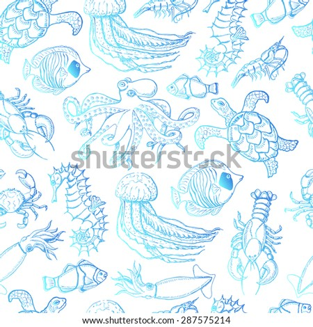 Seamless pattern with sea inhabitants on a white background. Vector illustration for your design