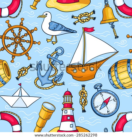 Seamless pattern with sea objects. Vector cartoon background for children.