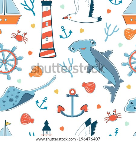 Seamless pattern with sea related elements