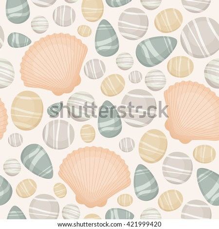 Seamless pattern with sea/river/ocean stones and seashells. Vector background