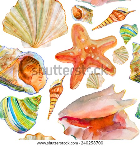 Seamless pattern with sea-shell. Vector illustration. - stock vector