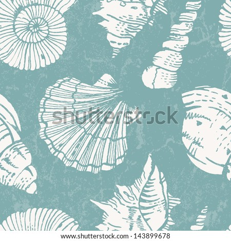 Seamless pattern with sea shells. Vector illustration EPS 10. - stock vector