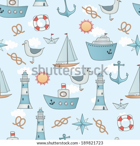 Seamless pattern with sea transport.