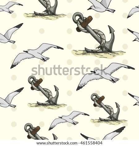 Seamless pattern with seagulls and anchors