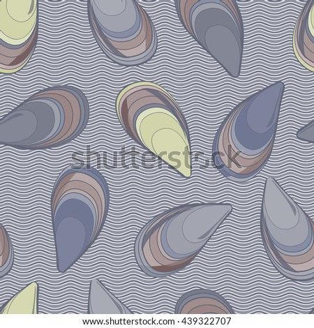Seamless pattern with seashells in waves background.