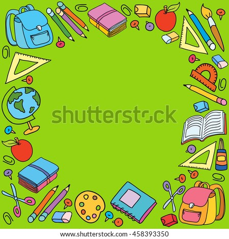 Seamless pattern with set of different school things vector bag apple