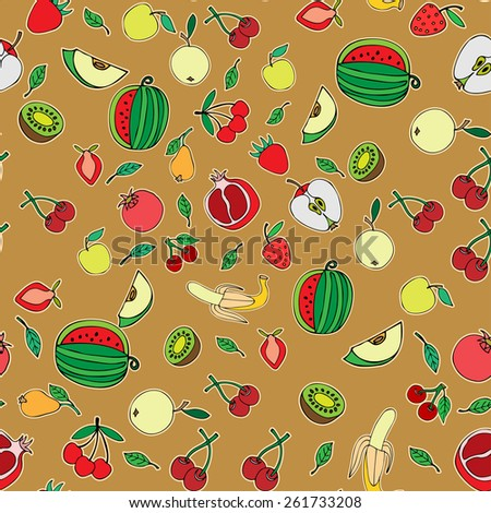 Seamless pattern with set of sweet fruits and berries. Apples, watermelon, grapes, bananas, kiwi, cherry. Food, fruit. Seamless texture. Doodle, cartoon drawing. Vector illustration - stock vector