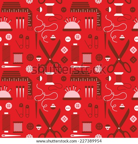 Seamless pattern with sewing accessories. - stock vector