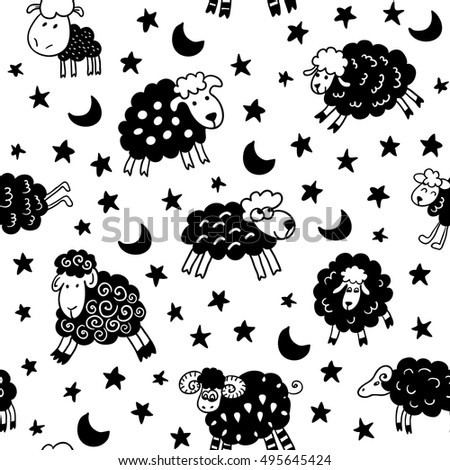 Seamless pattern with sheep in night. Can be used for textile, website background, book cover, packaging.