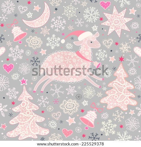 Seamless pattern with sheep, xmas tree, moon, stars, bells and snowflakes .Christmas background, greeting card. Vector illustration.