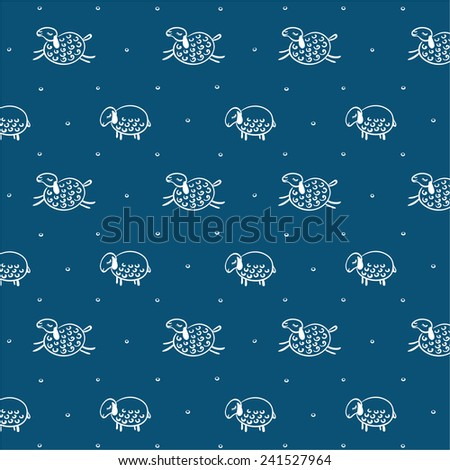 Seamless pattern with sheeps and snow with blue background - stock vector