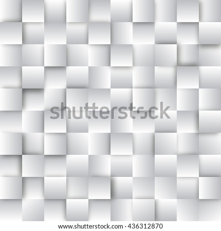 Seamless pattern with shiny silver squares. Wall of white cubes. Abstract geometric shape from gray cubes. Vector background perfect for wallpapers, pattern fills, web page, surface textures, textile - stock vector