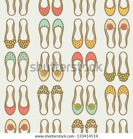 Seamless pattern with shoes - stock vector