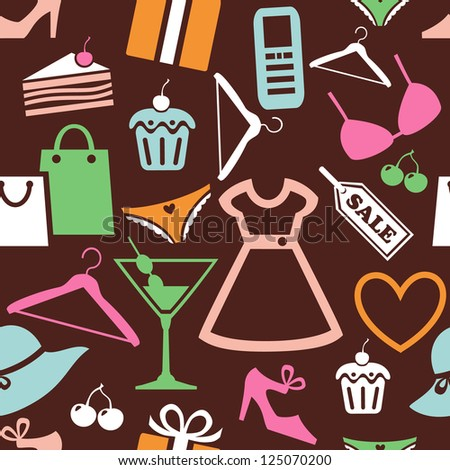 Seamless pattern with shopping icons - stock vector