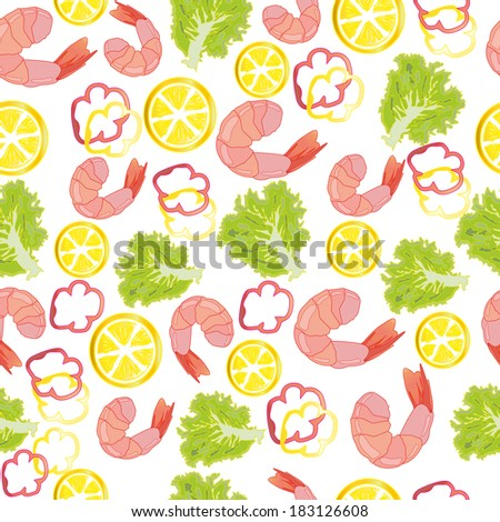 Seamless pattern with shrimps and vegetables. You can use it in textile design, greeting cards, graphic design. - stock vector