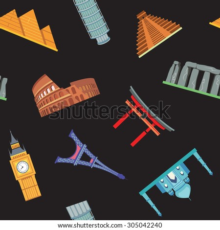 Seamless pattern with sightseeing concept - stock vector