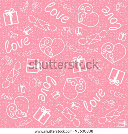 Seamless pattern with signs of love