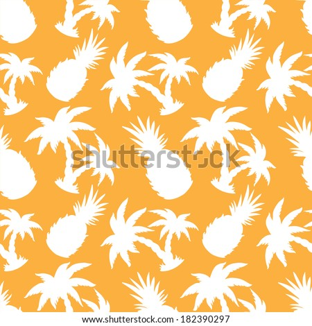Seamless Pattern with Silhouette Coconut Palm Trees and Pineapples - vector