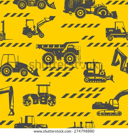 Seamless pattern with silhouette of heavy equipment and machinery - stock vector