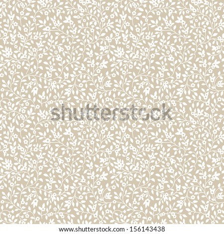 Seamless pattern with silhouette of small flowers and leaves. Vector illustration. White flowers on a beige background. - stock vector