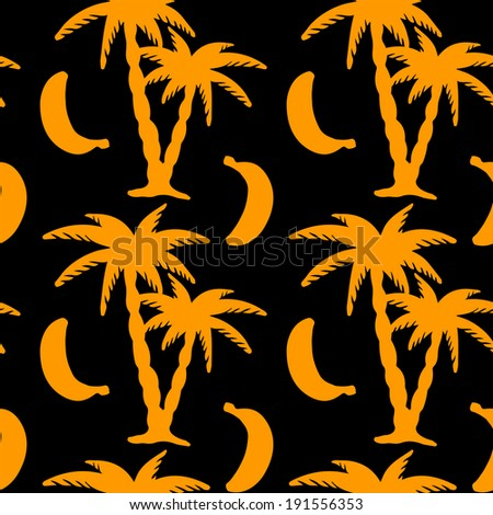 Seamless pattern with silhouettes coconut palm trees and bananas on a black background. Endless print texture. Hand drawing. Fruit.  Food. Nature. Summer - vector